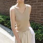 吊帶背心 冰絲針織v領吊帶背心女夏季內搭黑色白色打底衫外穿短款無袖上衣-Ballet朵朵