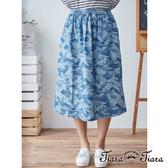 【Tiara Tiara】湛藍迷彩綁帶鬆緊腰半身裙(藍)