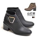 靴子 六角金飾皮革短靴