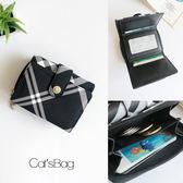 錢包-簡約黑白格紋單扣短夾-Catsbag-W36430326
