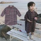 *╮小衣衫S13╭*秋冬女童小文青磨毛格子長袖口袋襯衫裙1091213