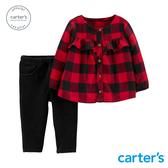【美國 carter s】格紋抓皺設計2件組套裝-台灣總代理