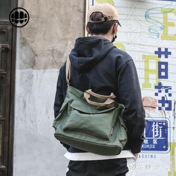 斜挎單肩包 男帆布包手提包日系大容量休閒帆布袋 mj14918【棉花糖伊人】