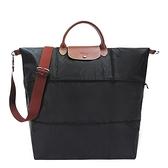 【南紡購物中心】LONGCHAMP LE PLIAGE 延展夾層手提/斜背旅行袋(黑)