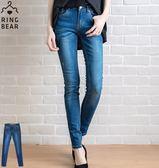 牛仔褲--極致享瘦舞出自信星星刺繡刷色側邊接片雙口袋中腰窄管牛仔褲(藍XL-7L)-N91眼圈熊中大尺碼