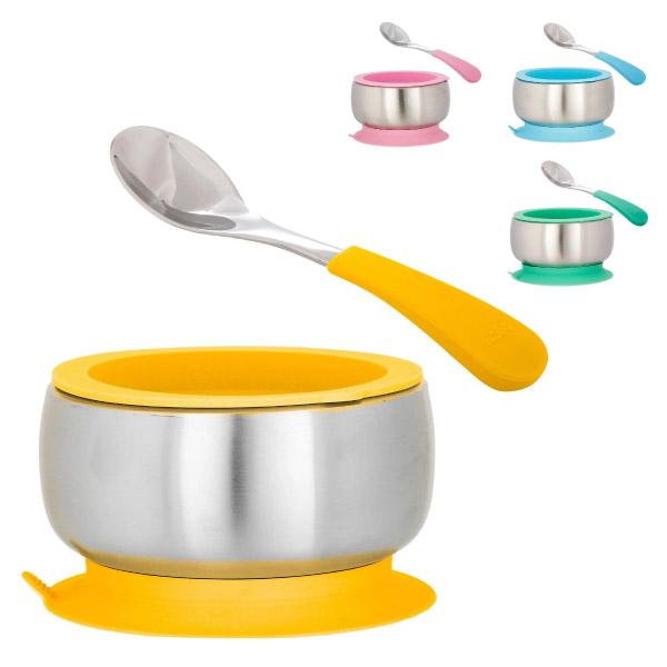 美國 Avanchy 雙層不鏽鋼吸盤餐碗組-含湯匙(4色可選)餐具
