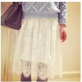 勾花縷空蕾絲半身裙中長款高腰網紗透視內搭襯裙打底裙短裙 錢夫人小鋪