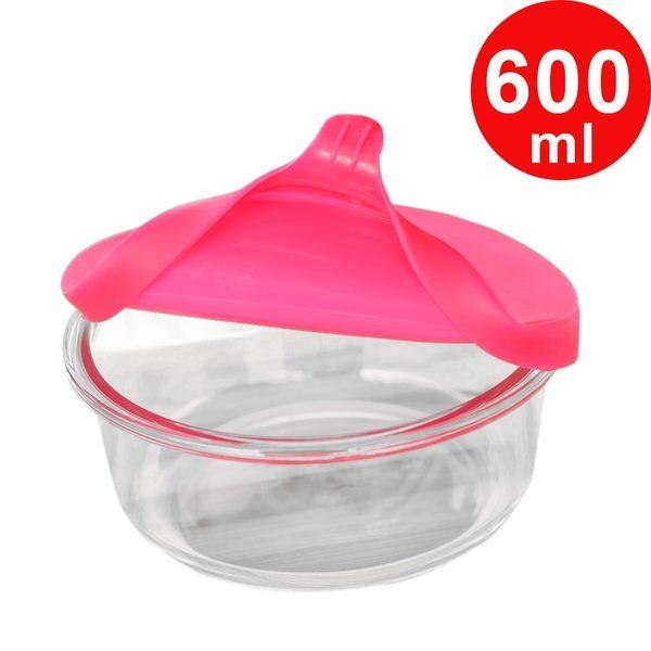 Artist 圓型矽膠蓋耐熱玻璃保鮮盒600ml-蜜桃紅(MF0347T)