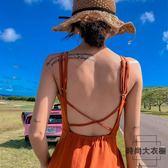 度假沙灘裙女海邊吊帶裙子連身裙超仙露背顯瘦長裙【時尚大衣櫥】