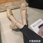 包頭涼鞋女仙女風潮時裝中跟粗跟一字帶高跟鞋學生十八歲百搭 618大促銷