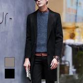 男 素色/羊絨/長版大衣 L AME CHIC  優雅西裝領兩扣雙面羊絨長版大衣【  ETCO110202 】