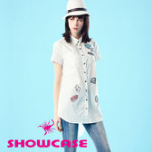 【SHOWCASE】個性塗鴨繡顯瘦前短後長長版襯衫(白)