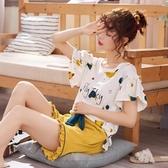 春秋睡衣女夏季薄款純棉短袖學生兩件套裝韓版可愛家居服女士夏天「艾瑞斯居家生活」