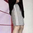EASON SHOP(GW6258)實拍撞色雙條紋多口袋鬆緊腰收腰運動褲休閒褲女高腰短褲熱褲寬褲直筒褲五分褲灰
