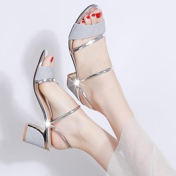 快速出貨 涼拖鞋 女外穿時尚中跟兩穿百搭學生露趾粗跟女 涼鞋
