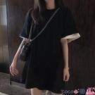 熱賣假兩件上衣 胖mm夏裝新款2021年拼色假兩件短袖t恤女韓版寬鬆中長款上衣潮ins coco