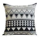 北歐簡約幾何靠墊 黑白棉麻抱枕 客廳沙發靠背靠枕