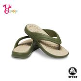 Crocs卡駱馳防水拖鞋 男女鞋 情侶鞋 夾腳人字拖 輕盈彈力舒適拖鞋 A1749#綠色◆OSOME奧森鞋業