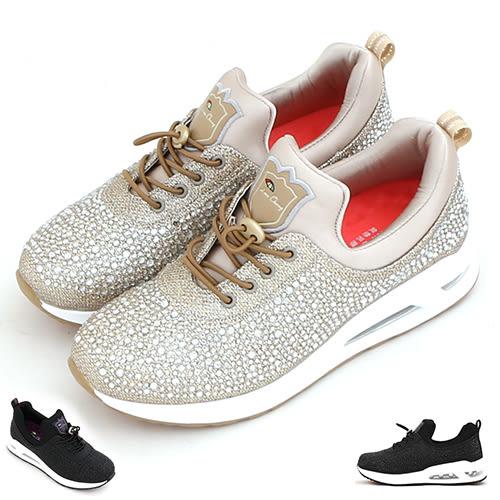 女款 Leon Chang 3D閃耀滿鑽氣墊健走鞋 輕量增高 免綁帶 慢跑鞋 運動鞋 休閒鞋 氣墊鞋 59鞋廊