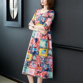 現貨真絲連衣裙女2019春夏新款歐美時尚印花桑蠶絲短袖裙子大尺碼連身裙