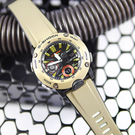 G-SHOCK CASIO / GA-2000-5A / 卡西歐 強悍風格 雙顯 計時碼錶 防水200米 運動衝浪 橡膠手錶 黑x坦克綠 46mm
