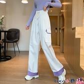 熱賣抽繩褲 休閒運動港風長褲子女寬鬆垂感高腰顯瘦百搭直筒束腳哈倫褲 coco