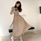 連身裙.復古素面排扣綁帶針織百褶長版洋裝...