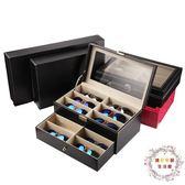 皮革眼鏡收納盒8格12格 時尚太陽鏡展示盒 皮質大墨鏡盒多格