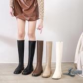 長靴簡約休閒百搭女靴子【邻家小鎮】