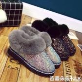 秋冬新款韓版加絨加厚雪地靴女靴平底學生豆豆鞋厚底棉鞋子潮『快速出貨』