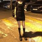 短袖洋裝短袖連身裙女夏裝收腰修身氣質螺紋包臀裙短裙厭世喪系單排扣裙子