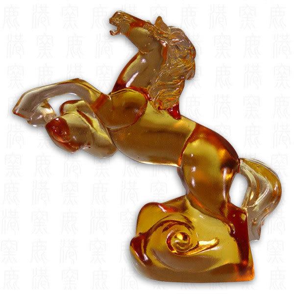 居家開運水晶琉璃-走馬上任含座(長方形)附古法制作珍藏保證卡◆免運費送到家
