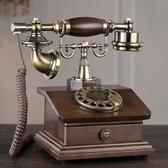 歐式仿古電話機老式實木復古旋轉撥號座機無線插卡電話家用座機 MKS極速出貨