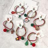 【BlueCat】聖誕節 酒紅抹茶雙繩 麋鹿鈴鐺白球髮圈