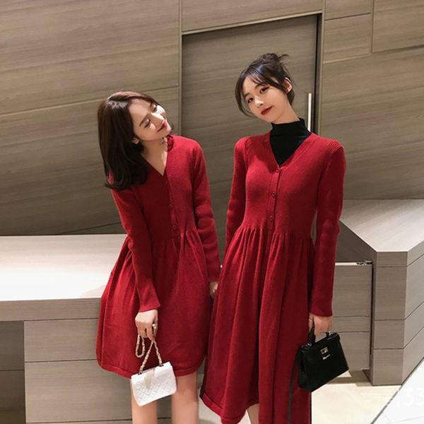 大韓訂製高腰洋裝日系韓版長裙V領扣打底襯裙短版針織連身裙