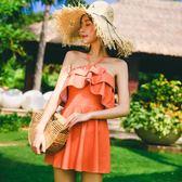 泳衣女泡溫泉小香風保守荷葉邊連體裙式