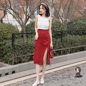 長裙 波點半身裙春側邊開叉2019夏季新款雪紡高腰紅色復古中長款小清新 3色XS-XL 交換禮物