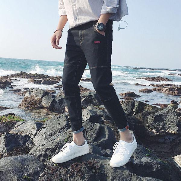 潮流時尚日系風格拼接造型百搭休閒牛仔褲