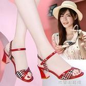 高跟涼鞋 紅色涼鞋女夏季新款韓版粗跟高跟鞋一字帶百搭時裝仙女風涼鞋 快速出貨