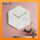 裝飾時鐘現代簡約北歐創意客廳天然大理石掛鐘個性地中海靜音壁鐘-白/綠/黑【AAA4537】預購