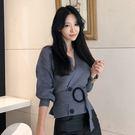 VK精品服飾 韓系針織衫收腰綁帶毛衣長袖...