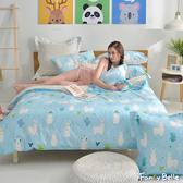 義大利Fancy Belle《草泥馬家族》雙人純棉防蹣抗菌吸濕排汗兩用被床包組