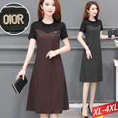 OIOR條紋撞色拼接洋裝 XL~4XL 【083510W】【現+預】-流行前線-