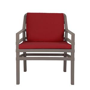 NARDI ARIA 扶手椅+座墊  灰褐+櫻桃紅色
