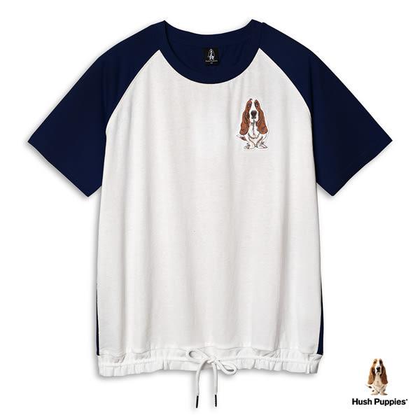 Hush Puppies 女裝下襬抽繩刺繡狗棒球袖T恤