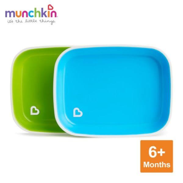 munchkin滿趣健-防滑餐盤2入-綠/藍+矽膠湯匙2入-藍/綠