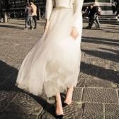 2019新款秋冬季網紗裙半身裙中長款蓬蓬a字百褶裙chic高腰仙女裙wl4416『3C環球』