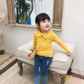 女童打底衫翻領春裝寶寶娃娃領長袖上衣純棉T恤【聚可愛】