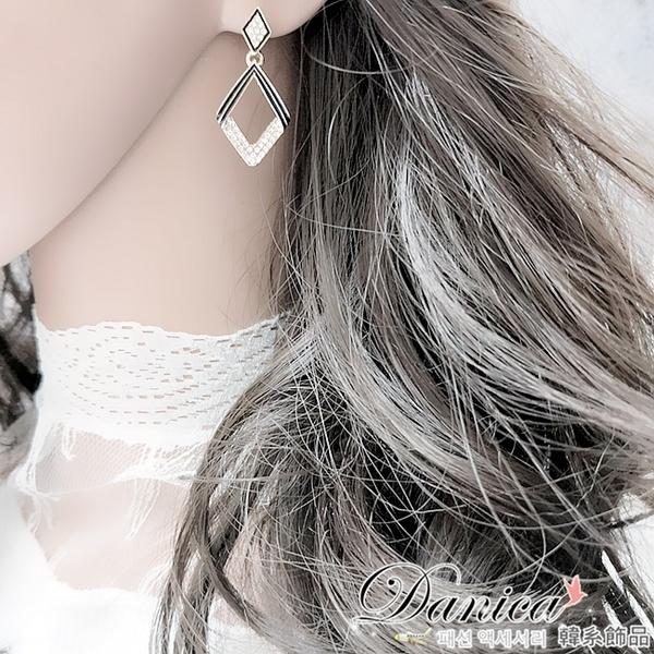 現貨 韓國冷淡風時尚氣質百搭仿古幾何菱形水鑽925銀針垂墜耳環 s93817 批發價 Danica 韓系飾品