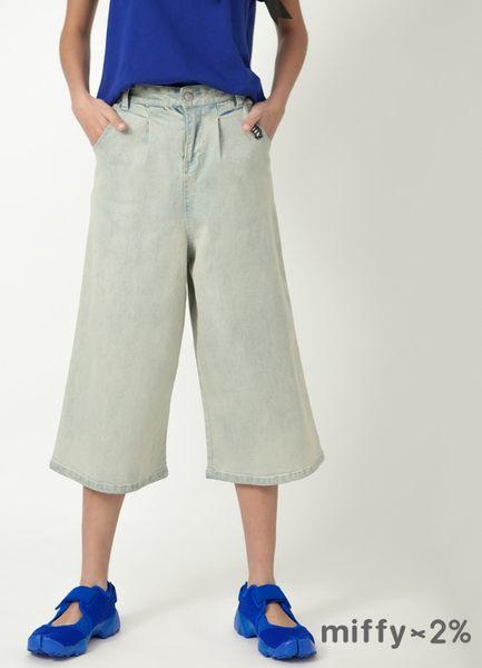 【2%】 miffy X 2% 古著刺繡單寧寬褲-藍